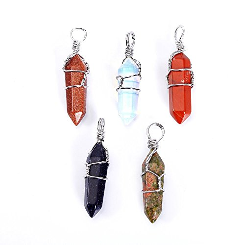 BRCbeads Gorgeous Faceted Synthetic Gold Sand Stone+ Synthetic Blue Sand Stone+ Synthetic Opal+ Natural Poppy Jasper+ Natural Unakite Handmade Wire Wrap Healing Point Chakra Pendant 30x10mm 5pcs per Bag for Necklace Making
