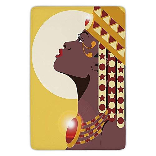 TRAzz Bathroom Bath Rug Kitchen Floor Mat Carpet,Queen,Beautiful Sexy African Woman Princess with Crown Against Sun Kissing,Yellow Burgundy Dark Mauve,Flannel Microfiber Non-Slip Soft Absorbent