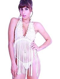 HO-Ersoka bata de encaje con elegante franjas largas, blanco