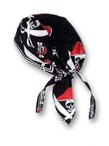 Pirat Skull Schwarz Rot (Piraten-kopftuch)