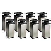 Patas para muebles, 8 piezas, altura regulable | Perfil cuadrado: 40 x 40 mm | Sossai MFV1-IX | Diseño: Inox | Altura: 100mm (+20mm) | Tornillos incluidos