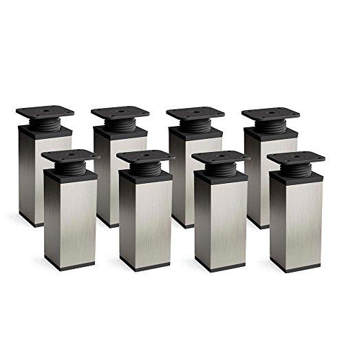 Preisvergleich Produktbild Design-Möbelfüße Doppelpack,  2 x 4er Set (8 Stück),  höhenverstellbar / Vierkant-Profil: 40 x 40 mm / Sossai MFV1-IX100-8 / Farbe: Inox / Höhe: 100mm (+20mm) / Material: Aluminium / Hochwertige Holzschrauben inklusive