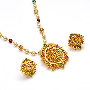 Anvi's lakshmi (temple jewellery) pendant set in pearls chain with jali design gold beads