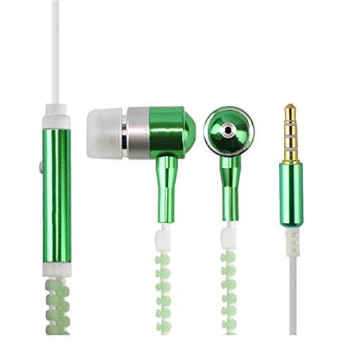 (Wired Kopfhörer Luminous Licht Reißverschluss-Kopfhörer 3.5mm Audio Jack Earbuds Glow In The Dark In-Ear-Headset mit Mikrofon)