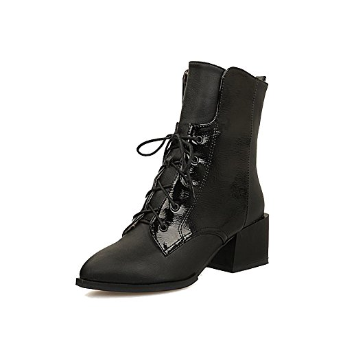 AgooLar Damen Mittler Absatz Gemischte Farbe Spitz Zehe Schnüren Stiefel mit Knoten, Weiß, 36