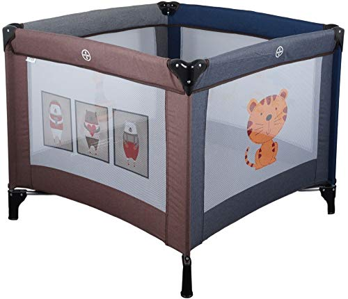 MamaLoes Ding Funny Laufstall/Laufgitter und Reisebett für Babys klappbar, inklusive praktischer Tragetasche