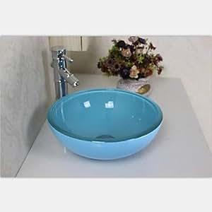 mini ligth blau runde geh rtetes waschbecken aus glas mit wasserhahn einbauring und wasser. Black Bedroom Furniture Sets. Home Design Ideas