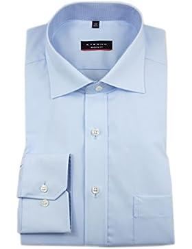 ETERNA Herren Langarm Hemd Modern Fit Uni Popeline blau Brusttasche mit Patch 1101.15.X157