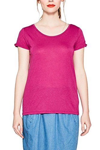 edc by ESPRIT Damen T-Shirt Rosa (Dark Pink 650)