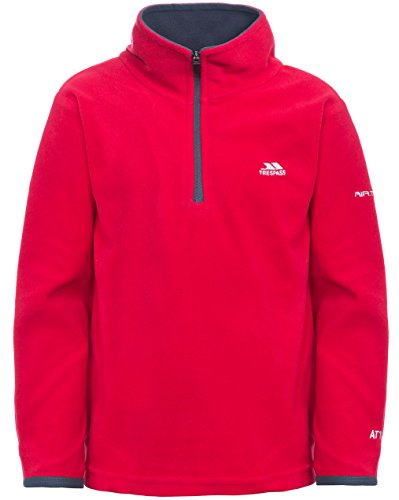 Trespass AT100 Etto Boys' Outdoor MicroFleece Sweatshirt available in Red - Size 9/10