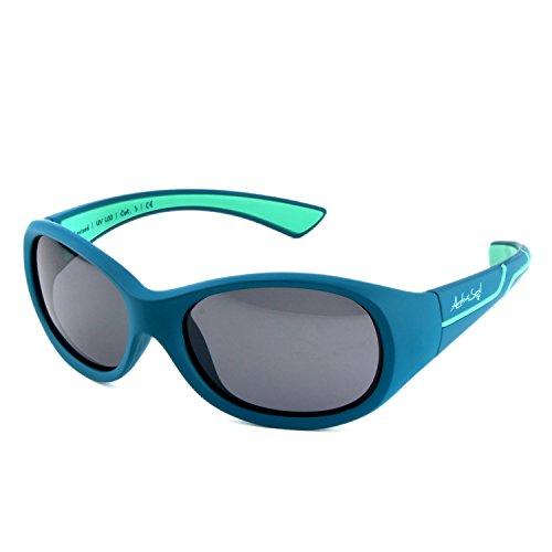ActiveSol Kids @School Kinder Sport-Sonnenbrille | Mädchen und Jungen | 100% UV 400 Schutz | polarisiert | unzerstörbar aus flexiblem Gummi | 5-10 Jahre | nur 22 Gramm (Petrol/Türkis)