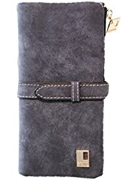 F9Q Femmes Vintage Bi-fold Zipper cordon nubuck longue Sac à main Porte-monnaie
