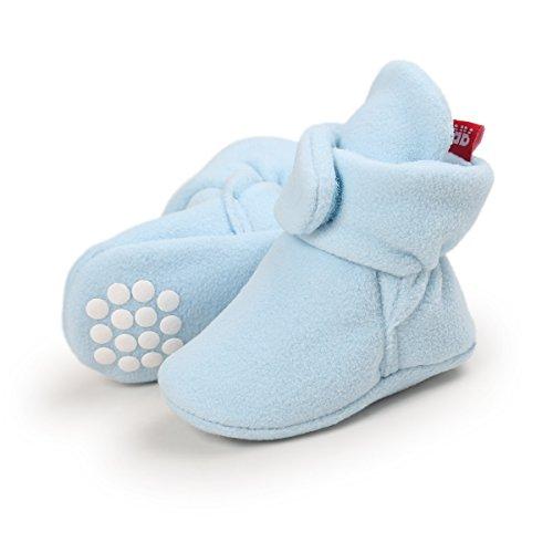 Adorel Baby Krabbelschuhe Anti-Rutsch Hausschuhe Gefüttert Blau 18/20 EU