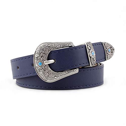 PmseK Gürtel Damen Herren, Vintage Belt Women Boho Black Floral Print Buckle Waist Belts Female Wide 2.3Cm Leather Waistband Jeans Belt For Ladies Navy Blue 105cmx2.3cm