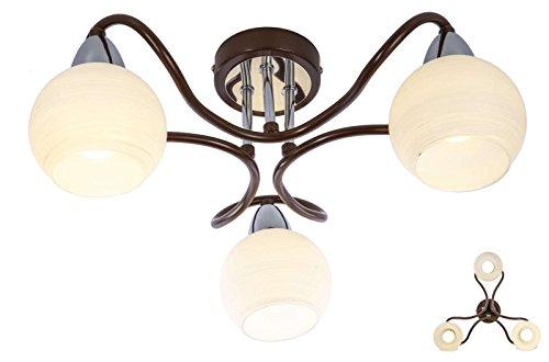 Deckenlampe 3 flammig Wohnzimmerlampe 45 cm Glas Kugeln (Retro, Deckenlicht, Deckenleuchte, Schlafzimmerlampe)
