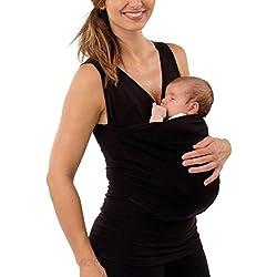 QinMM Camiseta Canguro para Padres, Chaleco Sin Mangas con Cuello Camisola Premamá y de Lactancia (Negro, L)