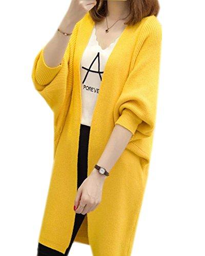 LOBTY Damen Strickjacke Winter Oberteil Langarm Oversize Boyfriend Style Lang Kimono Cardigan...