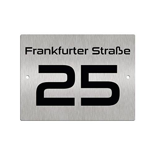 Hausnummernschild Hausnummer • Edelstahl fein gebürstet • mit Wunschnummer + Straßenname Folienplott • Design 11 (1mm)