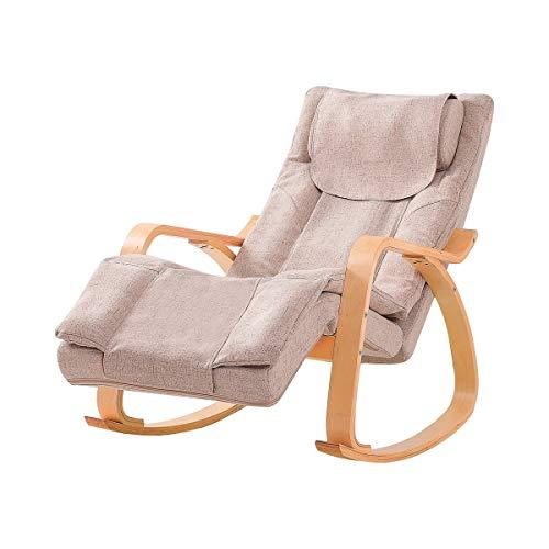 Top Massage-Stuhl Schaukelstuhl Massage-Sessel 3 Massagestufen 5 Wärmestufen 8 Knetrollen Relaxsessel TV-Sessel Liegefunktion Nacken-und Rückenmassage Lesesessel abnehmbare Massage-Auflage