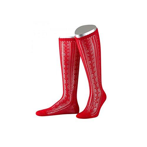 mpfe Damen | rote Trachtenkniestrümpfe aus reiner Baumwolle| Trachten Socken fürs Oktoberfest (Rote Trachten Socken)