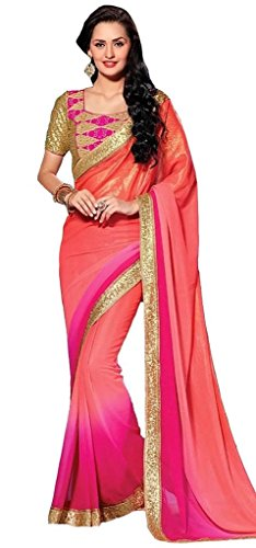 Glory Sarees Georgette Saree (Nakkashi1007_Pink And Orange)