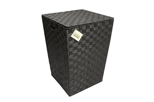 ehc-woven-pattern-laundry-storage-hamper-basket-with-lid-black