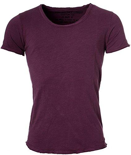 Key Largo Herren vintage used destroyed Look uni basic T-Shirt Bread new round neck tiefer Rundhals Ausschnitt einfarbig T00621 Rot-Violett