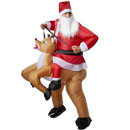 dressforfun 302358 - Aufblasbares Unisex Kostüm Santa Claus auf Einem Rentier ()