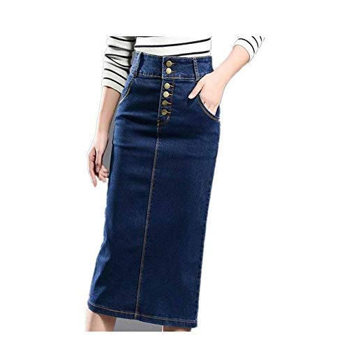 LJSF Women's New Large Size Denim Skirt Elasticity high Waist Long Skirt Split Skirt -