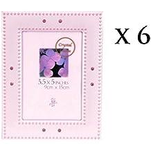 Lote de 6 Portafotos Piedra Rosa 9x13