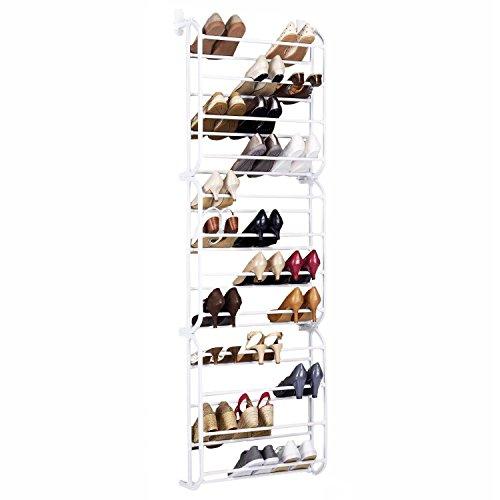 AMOS 36coppia sopra la porta gancio scarpiera a 12ripiani regolabili mensola organizzatore porta supporto salvaspazio