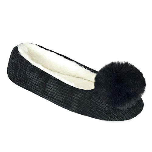 undercover lingerie Ladies Chenile Pom Pom Slipper FT1359A Black 5-6