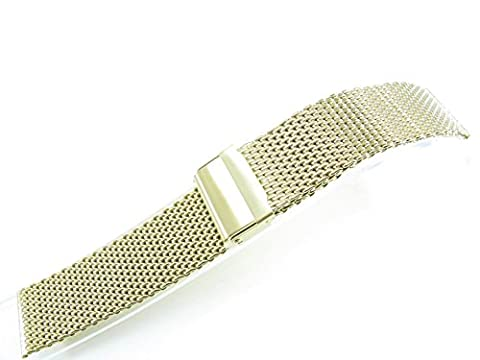 22mm Stainless Steel Watch Mesh Bracelet Wristband 1.0mm Wire silver black gold rose gold titanium (Polishing 1N14 Gold)
