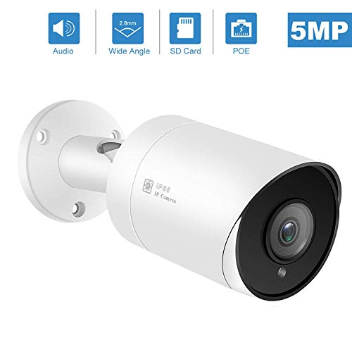 Anpviz PoE IP Kamera 5MP Super HD Überwachungskamera Bullet mit Audio und SD Kartensteckplatz, für Innen- und Außenbereich IP66 Wasserfest, mit IR Nachtsicht, Bewegungserkennung #IPC-B850WD-S Super Ir-wetterfeste Kamera