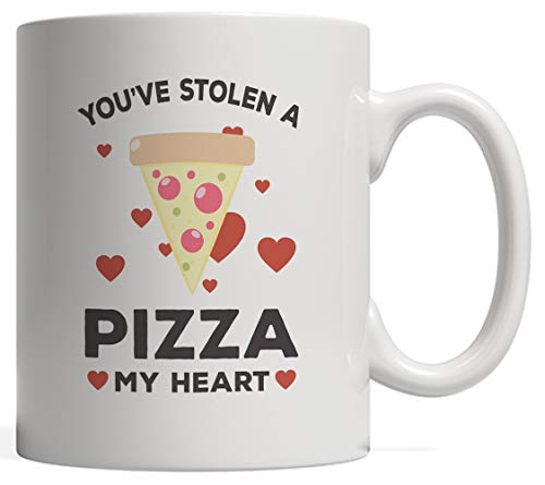 a My Heart Valentines Mug - Funny Valentine's Day Gift Idea For Lovely Couple Pizzas Lovers Who Love Eating Food! With Cute Red Hearts For Married Couples Or Boyfriend And Girlfrie ()