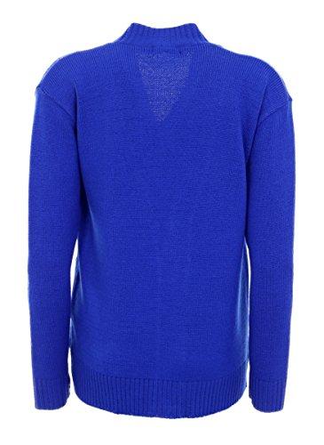 NEUF CLASSIQUE FEMMES DAMES DE cardigan Tailles 10-20 tricot torsadé manches longues Aran Type Bleu Roi