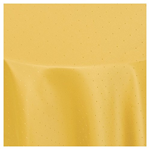 """Moderno Punkte Tischdecke oval 140x190 cm im Damast Stil Farbe """"Dunkel-Gelb"""""""