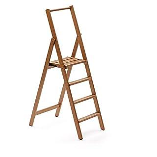 Arredamenti Italia 4-Stufen Leiter KIMORA, Holz - zusammenklappbar - 4 Stufen -Farbe: Kirsche holz