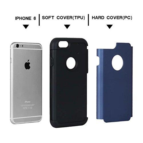 """iPhone 6 Coque,iPhone 6S Coque,Lantier fini mat givré finition design antichoc 2 en 1 Combo Rugged Armor Housse de protection pour Apple iPhone 6/6S 4.7"""" Rose Or+Rose Navy Blue+Black"""