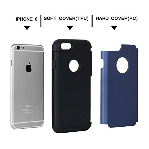 "iPhone 6 Hülle,iPhone 6S Hülle,Lantier Thin Frosted Matte Finish Design Shockproof 2 in 1 Combo Rugged Rüstung Schutz Fall Deckung für Apple iPhone 6/6S 4.7"" Schwarz Navy Blue+Black"