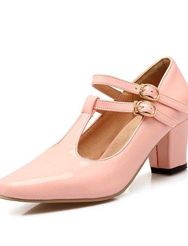 WSS 2016 chaussures en cuir verni talons printemps / été / automne talons mariage / casual chunky talon buckleblue / rose des femmes beige-us5 / eu35 / uk3 / cn34