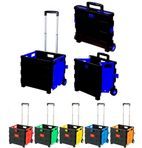 Einkaufstrolley Blau Einkaufswagen bis 35kg Transport Trolley Klappbar Transportwagen Klappbox Shopping Shopper Trolley Faltbox Aluminium Kunststoff