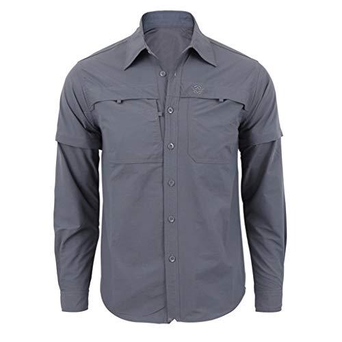 Yazidan Herren Hemd Langarm Regular Fit Stehkragen Einfarbig Freizeithemd für Männer