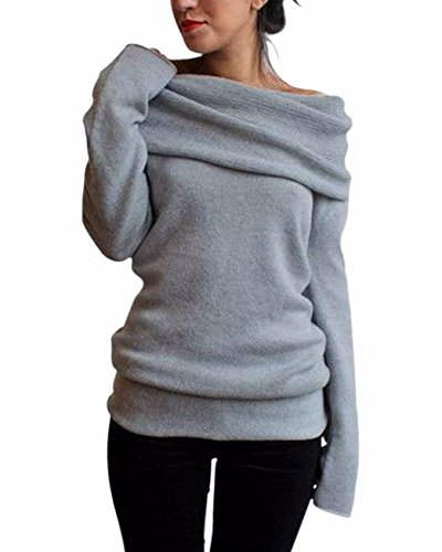 Minetom Femme Sexy Tricot Pull Epaule Nue Manches Longues Slim Sweater Jumpers Hauts Gris