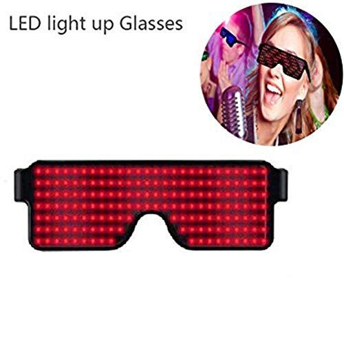 Goyajun Leuchtend LED Brillen, Sicherheit Wiederaufladbar Brillen Blinkt Coole Sonnenbrillen mit 8 Modi für Flash Party, Tanz, Klub, Hochzei, Männer und Damen (Rot)