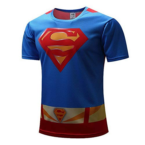 HOOLAZA Superman Blau Rot Männer Kurzarm Kompression Herren T-Shirt Fitness Sport Gym Compression Avengers Short Shirt Herren Gym Beim Training T-Shirt