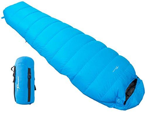 Timberbrother 700 Ultraleicht Schlafsack Daunenschlafsack 0 ~ 5°C Outdoor für Wandern, Camping, Trekking - Kompressionspacksack (Blau -- Regular, 0 ~ 5°C) (Ripstop-nylon-shell)