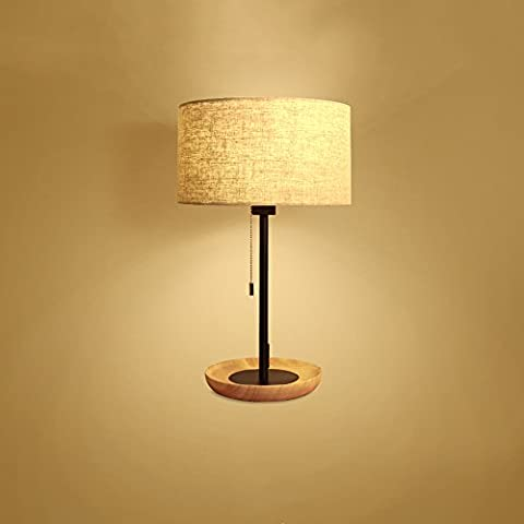 Nordic Simple Table Lamp Creative Wooden Restaurant Desk Lamps Bedroom LED Bedside Lamp Study Storage Room Basement Lighting Fixtures E27 Bulb Base(Diameter 30cm*Height