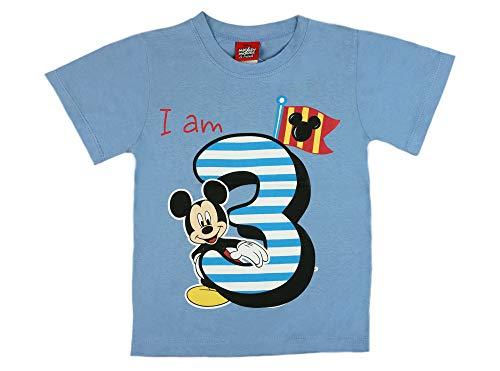 Jungen Baby Kinder dritter Geburtstag Kurzarm T-Shirt 3 Jahre Baumwolle Birthday Outfit GRÖSSE 98 104 Mickey Mouse Disney Design in Weiss oder Blau Babyshirt Oberteil Hemd Polo Farbe Blau, Größe 98