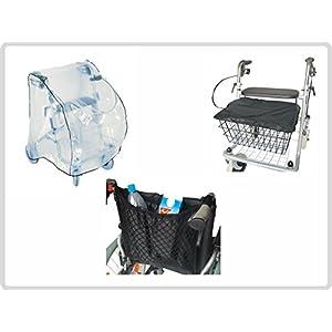 Schutz-Set zum Rollator ( Schutzabdeckunung, Korb – Sitzabdeckung und Einkaufsnetz mit Innenfutter, schwarz )